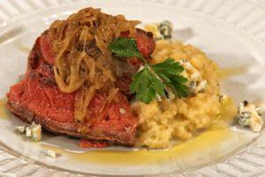 Pan seared steak with blue cheese and rutabaga turnip puree