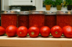 Home canned tomatoes have the same wonderful flavors as fresh-picked tomatoes.