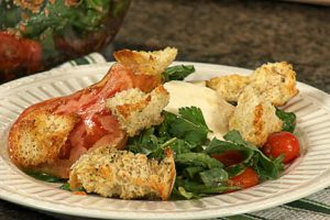 Heirloom tomatoes with mozzarella cheese and homemade croutons