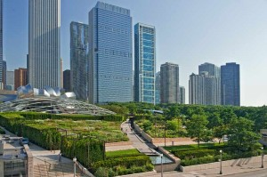 Lurie Garden in Chicago is considered the largest rooftop garden in the world