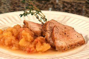 Oven roasted pork tenderloin with spiced applesauce