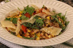 Fresh corn and black eyed pea succotash plated