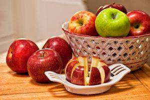 Apples on cutting board