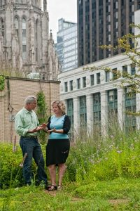 Joe and Commissioner McKenna discuss the benefits of the Chicago City Hall rooftop garden