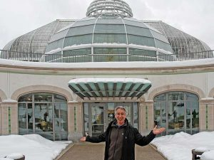 Joe in front of Phipps Conservatory in the snow