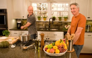 Joe and Nathan enjoy a laugh on the kitchen set of Growing a Greener World