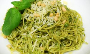 Fresh Basil Pesto with Capellini Pasta and Parmesan Cheese