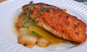 Braised Leeks with Pan Seared Tilapia