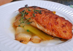 Braised Leeks with Pan-Seared Tilapia