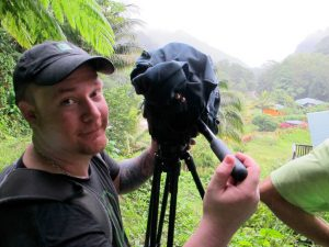 My shooter buddy David Pennington filming in the rainforest. We loved Dominica but the equipment wasn't so pleased.