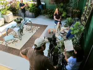 Between takes on Baylor's patio