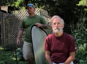 Gary Oppenheimer, founder of AmpleHarvest.org, relaxes between takes