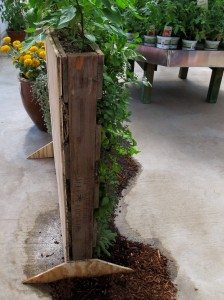 Burpee Home Gardens modified vertical pallet garden with feet!