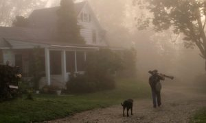 Cameraman David Pennington takes advantage of early morning light and mist at The Farm School
