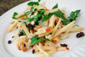 Chef Nathan's Apple Fennel Salad with Shaved Parmigiano and Black Currants