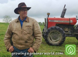 Joel Salatin of Polyface Farms with red tractor