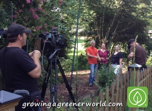 Garden Coach Robin Haglund in the garden (center) with host Joe Lamp'l, homeowner Emily, and the Growing a Greener World crew