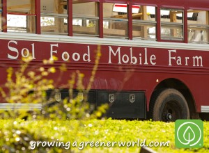 The Bus! Sol Food Mobile Farm is a traveling, teaching, mobile garden classroom, that traveled the US in 2012 using waste vegetable oil as fuel.