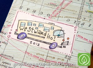 Travel plans, maps, workshop dates and logbook for Sol Food Mobile Farm 2012 Bus Tour