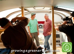 Joe and the crew visit the Sol Food Bus before the interior installation is complete.