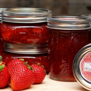 High acid foods include jams, jellies, pickles and marmalades.