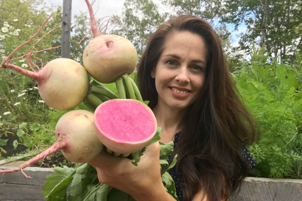 Niki Jabbour with watermelon radishes