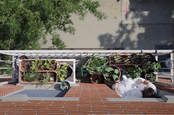 Maria Failla on her balcony